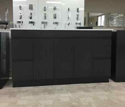 CLEARANCE Black 1500mm Bathroom Vanity  With STONE  top