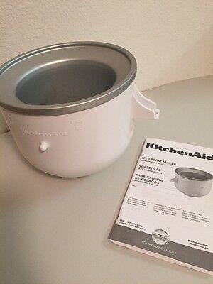 KitchenAid Ice Cream Maker Freeze Bowl ONLY Stand Mixer Attachment + Manual VGUC