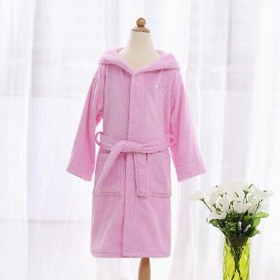 Hot Sale Girls Bathrobe Cute Cartoon Hooded Kids Sleepwear Comfy Homewear W/Belt