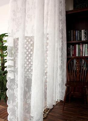 French Country Crochet Lace Cutwork White Net Curtain Tap Panel Damask Lace New