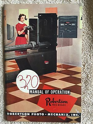 Rare owner's manual for Robertson Photo 320 Darkroom Camera 1955 photography