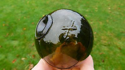 Genuine Beachcombed Japanese Glass Float Marked Olive Brown  +  W/ Whittle Marks