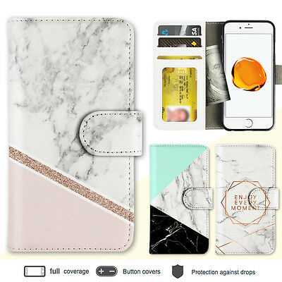 iPhone 7 7 Plus 6s Case Marble Shape Stone Print Wallet Leather Cover For Apple