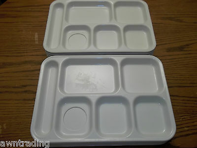 (Set Of 10) Dallas Ware P71 White Texas  Melamine Divided Lunch Tray*