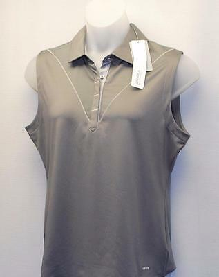 New Ladies XL Annika Cutter & Buck DryTec Strata sleeveless golf polo shirt