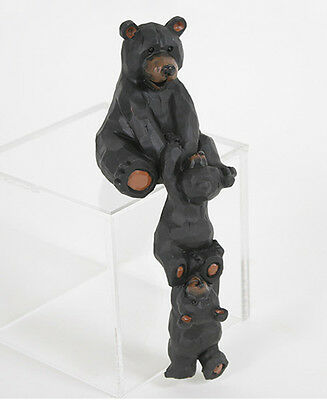 Whimsical Bear & Cubs Shelf Sitter or Computer Monitor Topper Figurine