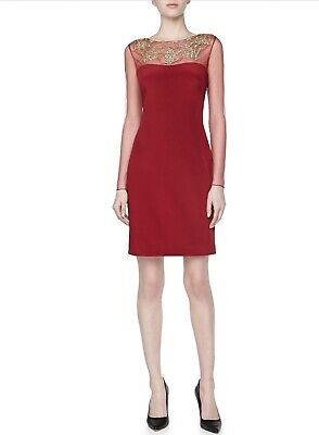 0fbd1a00 NEW Marchesa Notte Red Illusion Neckline Long Sleeve Cocktail Dress (Size 6)