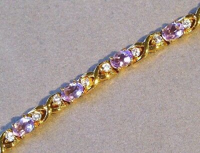 """AMETHYST and """"DIAMOND"""" 18K YELLOW GOLD over STERLING SILVER BRACELET NEW OLD ST"""