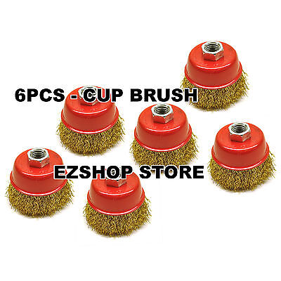 """6pcs 3"""" Thread Wire Wheel Cup Brush Grinder Fine Crimped Coarse 6 CUP"""