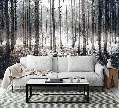3D forest outdoor snow photo Wall Paper Print Decal Wall Deco Indoor wall Mural