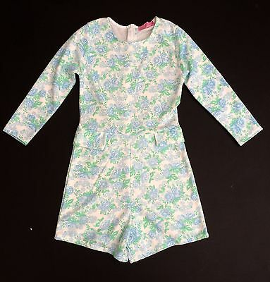 Vintage 60s 70s Style Blue Mint Green Floral Short Playsuit Jumpsuit 6 XS NWT