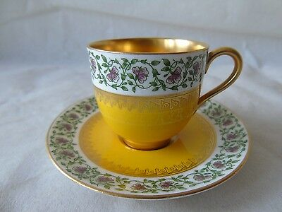 Royal Worcester Yellow Ground & Floral Gilded Demitasse Coffee Cup & Saucer Set