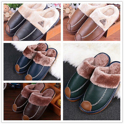 Men's Slippers Home Warm Cotton House Indoor PU Velvet Shoes Sandals Anti Slip