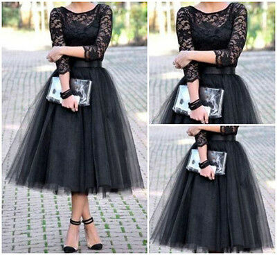 Black Lace Long Prom Cocktail Party Formal Evening Ball Gown Bridesmaid Dress