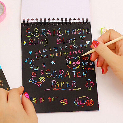 Kids Rainbow Scratch Art Kit Magic Drawing Painting Paper Notebook Gift Voguish