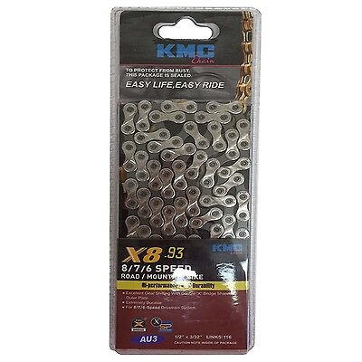"""Chain -KMC Blister, KMC X8.93, 1/2"""" x 3/32"""" x 116L, Suitable 6,7,8 speed With Co"""