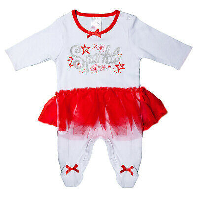 Newborn Baby Girls 100% Cotton Sleepsuit Babygrow Bodysuit Cute Tutu NB-9 Months