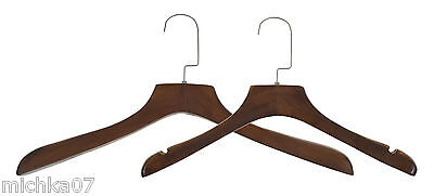 Thick Luxury Dark Wooden Jacket Dress Coat Hangers With/Without Grooves