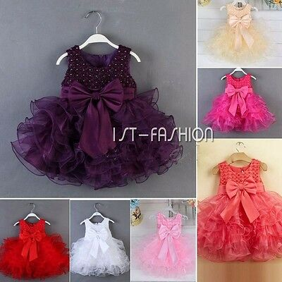 Baby Flower Girls Dress Bow Tulle Tutu Formal Bridesmaid Wedding Party Dresses