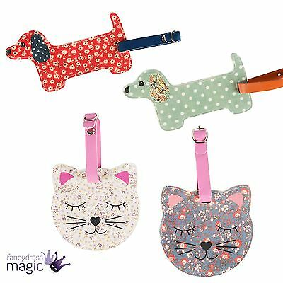 Sass & Belle Floral Friends Cat Dachshund Sausage Dog Kitty Luggage Tag Travel