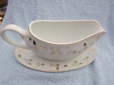 Rayware gold leaf and White Ceramic Gravy Sauce Boat with Saucer