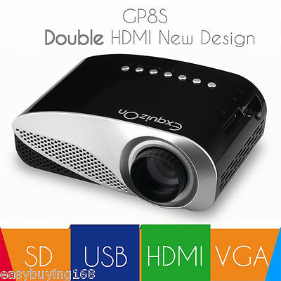 "100"" Mini 1080P HD 3D LED/LCD Projector Home Cinema 1000:1 HDMI USB VGA SD AV PC"