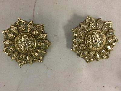 Antique Pair Of Victorian Solid Brass Horse Brass Rosettes.