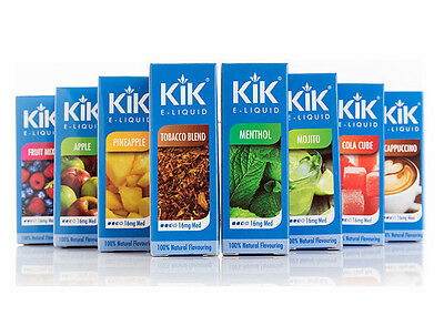KIK E-LIQUID NICOTINE 16mg & 1st CLASS FREE POST 40+ FLAVOURS UK STOCK