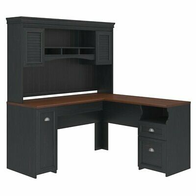 Bush Furniture Fairview L Shaped Desk with Hutch in Antique Black