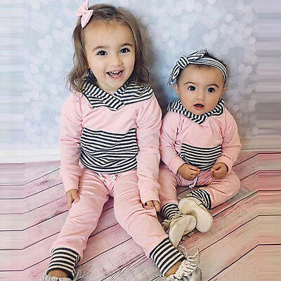 2PCS/Set Toddler Baby Boy Girl Hooded Tops Shirt+Pants Outfits Tracksuit Clothes