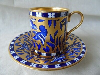 Rare Antique Coalport Lapis & Gilt V6663 Demitasse 6500 Coffee Can Cup & Saucer