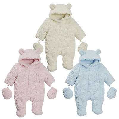 Newborn Baby Girls Boys Unisex Featherlook Soft Hooded Pram Suit Sizes 0-9 Month
