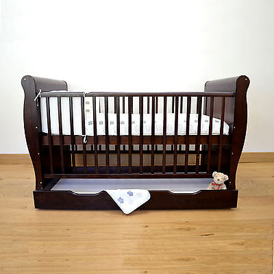 4Baby Cocoa Wood 3 In 1 Sleigh Cot Bed & Drawer Converts To Junior Toddler Bed