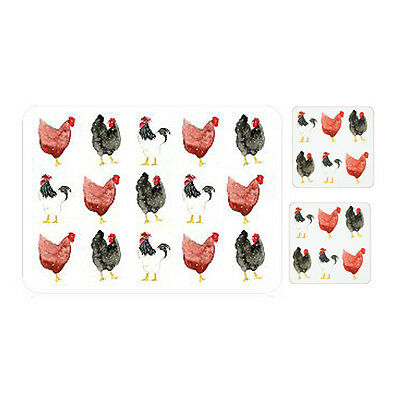 Pecking Order Placemats and Coasters Set of 4 Hen Chicken Table Drink Mat Dining
