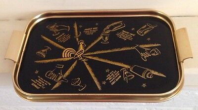 Vintage Mid Century 1950s Cocktail  Drinks Serving Tray - Different Cocktails
