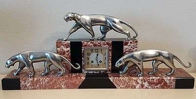 Michel Decoux Clock Art Deco Bronze & Marbre 3 Panthers Pendule Pantheres 1930