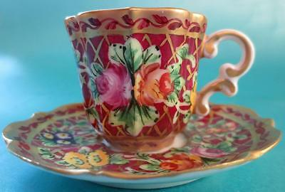 La Seynie Limoges Miniature Cup and Saucer French Porcelain Hand Painted Red