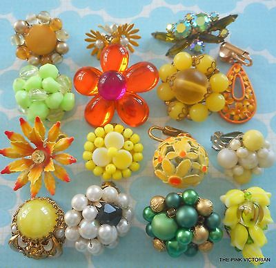 VINTAGE single mismatch EARRING 15pc LOT COLORFUL assortment some SIGNED PN4677