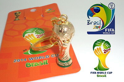 Metal Brazil World Cup 2014 Keychain Trophy Fifa Keyring Fan Souvenir Collector