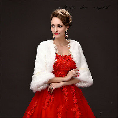 Wedding Bridal Faux Fur Coat Jacket Cape Bolero Scarf Shawl Shrug Wrap Fancy