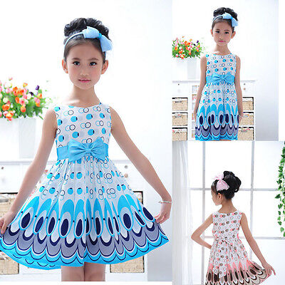 Kids Girls Dress Peacock Color Sleeveless Baby Girl Princess DressParty Clothes