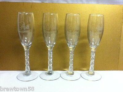 Asti Gala year 2000 stemmed champagne wine glass glasse set of four SA3