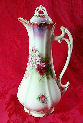 """Antique R.W. Bavaria Tall Coffee Chocolate Pot Pitcher Roses Floral Luster 12"""""""