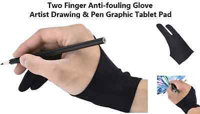 1pc Black 2 Finger Anti-fouling Glove For Artist Drawing/Painting/Graphic Work