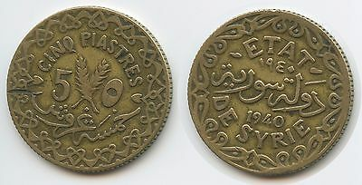 G9424 - Syria 5 Piastres 1940 KM#70 Scarce Syrien Syrian French Protectorate