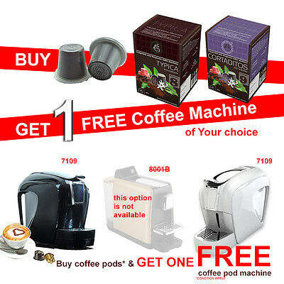 Buy 200 Nespresso Camptiable Coffee Capsules get 1 Free Coffee Pod Machine