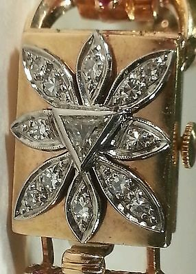 Galmor Art Deco 14k Gold Watch with 1 3/4 ct Diamonds and Rubies TW