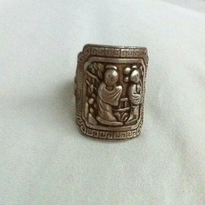 antique   Silver ornament ring BanZhi maid figure The qing dynasty silver ring
