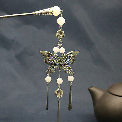 Vintage Hair Clasp Hairpin Geisha Kanzashi Chinese Butterfly Slide Bun Stick New
