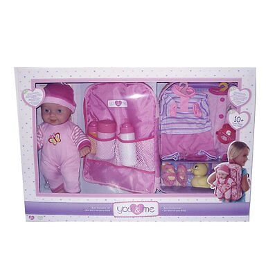 Doll You & Me 28cm Baby Toys and Backpack With Adjustable Strap Set